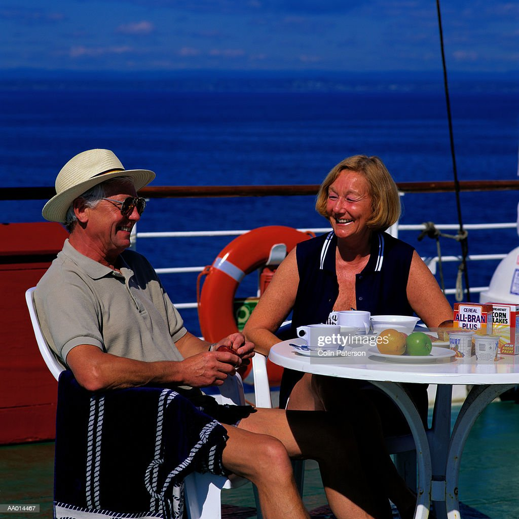 Couple Eating Breakfast on a Cruise Ship : Stock Photo