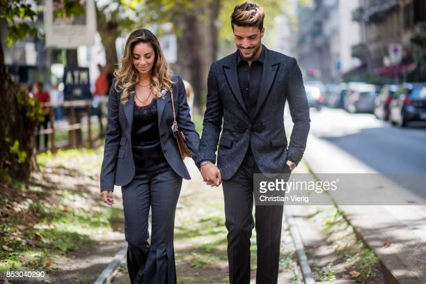 Couple Eleonora Brunacci and Mariano Di Vaio is seen outside Dolce Gabbana during Milan Fashion Week Spring/Summer 2018 on September 24 2017 in Milan...