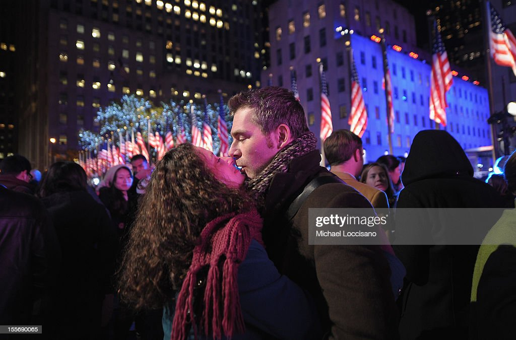 A couple embraces in celebration of the 2012 Presidential Election night at Rockefeller Center on November 6, 2012 in New York City.
