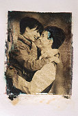 Couple embracing (transfer image)
