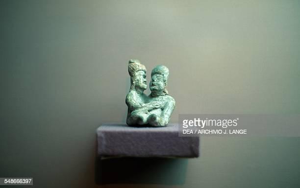 Couple embracing statuette from Tlapacoya Mesoamerican civilisation Tlatilco culture Mexico City Museo Nacional De Antropología