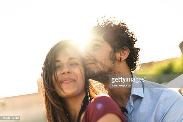 couple embracing togetherness at dusk