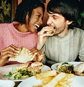 Couple Enjoying a Meal in a Pub