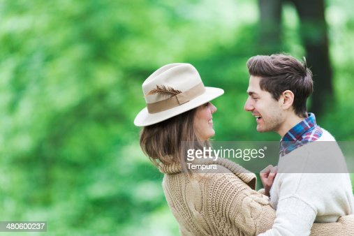 Couple enjoying a nice day at the forest. : Stock Photo