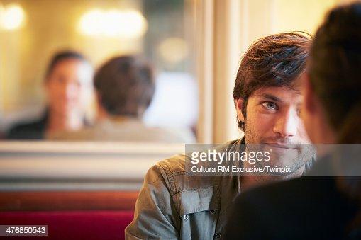 Couple enjoying cafe bar
