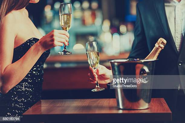 couple enjoying champagne