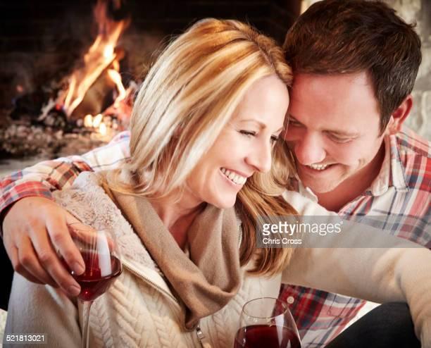 Couple enjoying drinks together