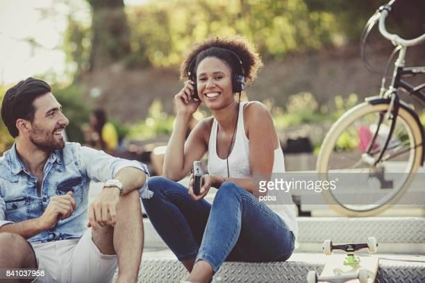 Couple enjoying outside