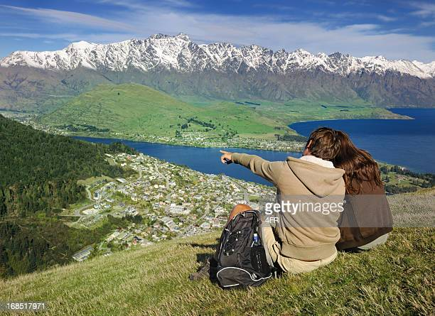 Couple Enjoying the View over Queenstown, New Zealand (XXXL)