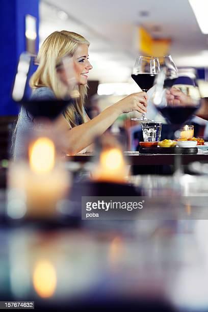 couple enjoys good   food  and  celebrates anniversary