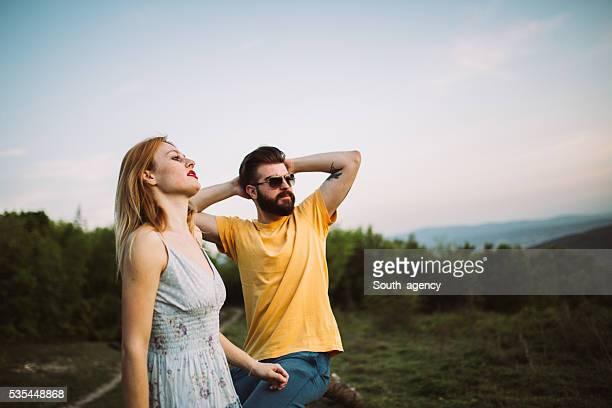Couple enjoys the mountain