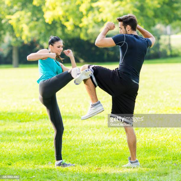 Couple exercising Martial Arts