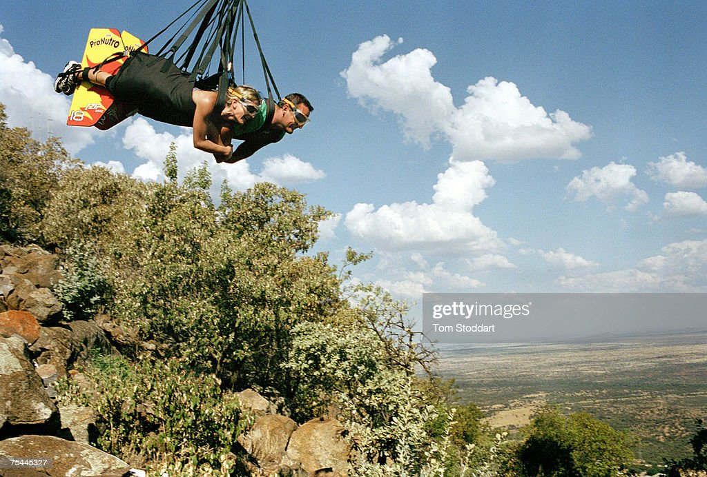 A couple experience the thrill of the longest zip slide in the world at Sun City the entertainment centre popular with gamblers and tourists built by...