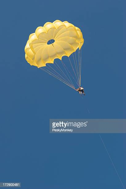 Couple Falling in Love Yellow Parachute Blue Sky