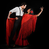 Couple flamenco dancing