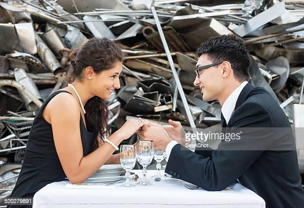 Couple flirting in Landfill