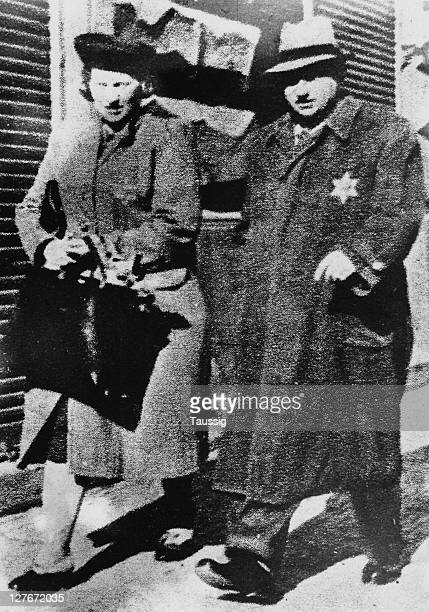 A couple forced to wear yellow Star of David patches to mark them as Jews Prague Czechoslovakia October 1941