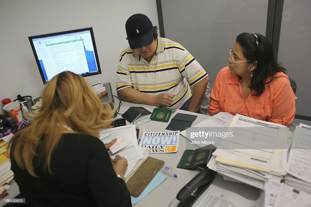 A couple from Mexico receives help with immigration issues on January 31, 2013 in New York City. They were visiting the CUNY Citizenship Now 'Express Center' in New York's Washington Heights. The non-profit helps some 8,000 immigrants in the New York area navigate through the complicated process of acquiring U.S. Citizenship and provides free legal information for the immigrant community.