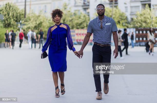 Couple Gabrielle Union and Dwyane Wade outside Lanvin during Paris Fashion Week Menswear Spring/Summer 2018 Day Five on June 25 2017 in Paris France