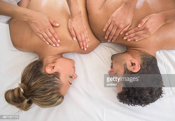 Couple getting a massage at the spa