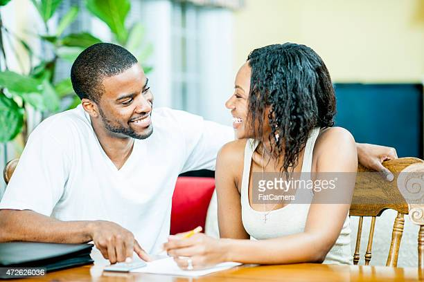 Couple going over Finances
