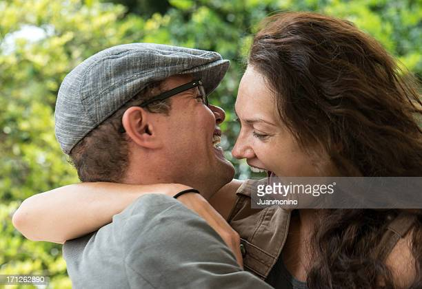 Couple happily embracing