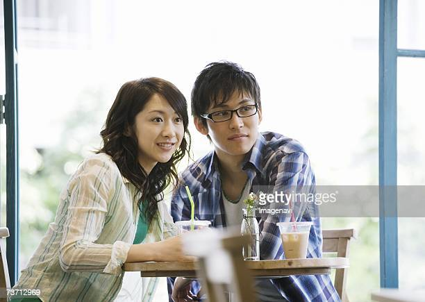Couple having a date at cafe