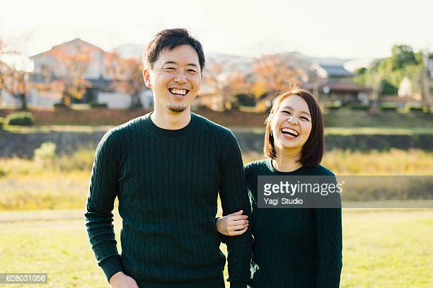 Couple having a good time in outdoors