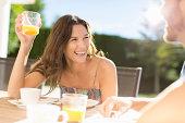 Couple having breakfast outdoors