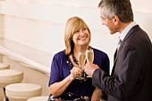 Couple having champagne in bar