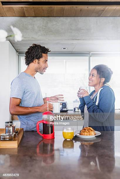 Couple having coffee and Breakfast