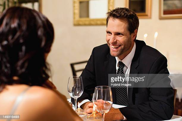 Couple having dinner in restaurant