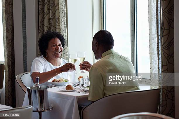 Couple having dinner on cruise ship