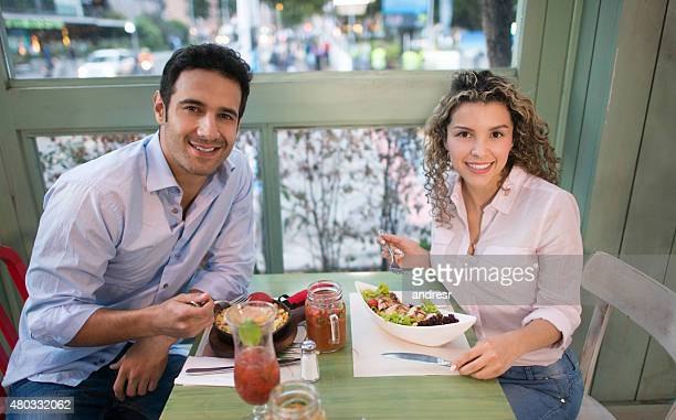 Couple having dinner together