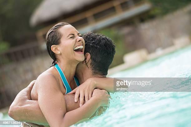 Couple having fun in the swimming pool