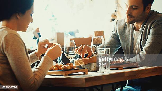 Couple having lunch in a restaurant.