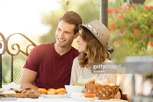 Couple having lunch in restaurant