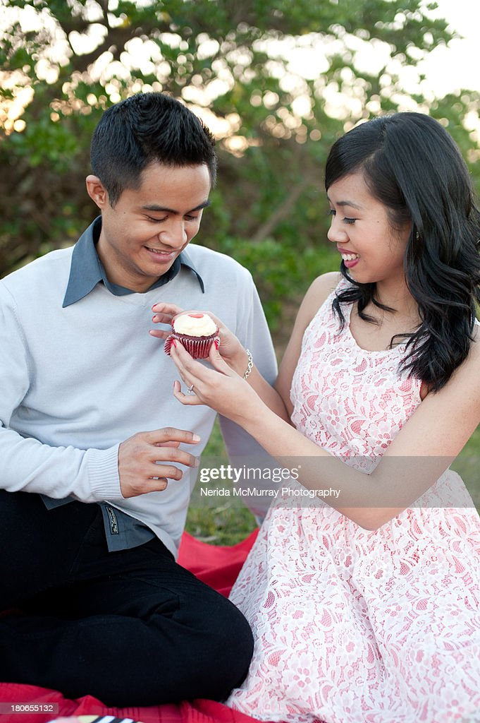 Couple having picnic : Stock Photo