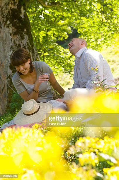Couple having picnic under tree