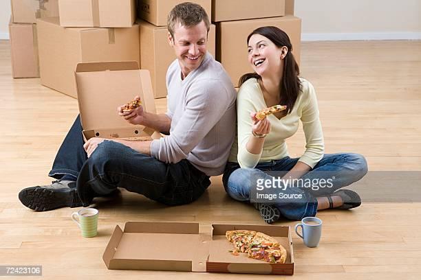 Couple having pizza