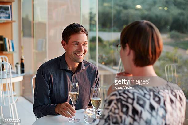 Couple having romantic dinner with Champagne