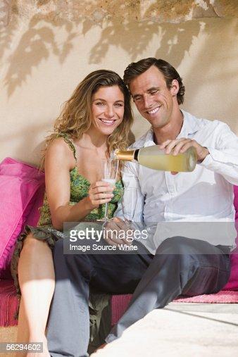 Couple having some wine : Foto stock