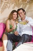 Couple having some wine