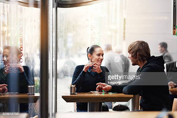 Couple having turkish tea in a bistro