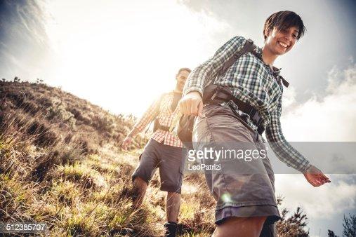 Couple hiking in mountain