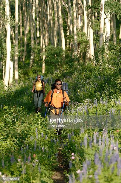 Couple Hiking in the Wasatch Mountains of Utah