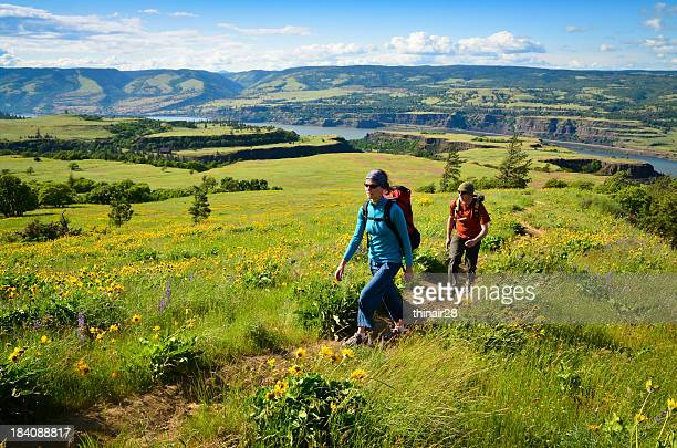 Couple hiking through meadow with flowers