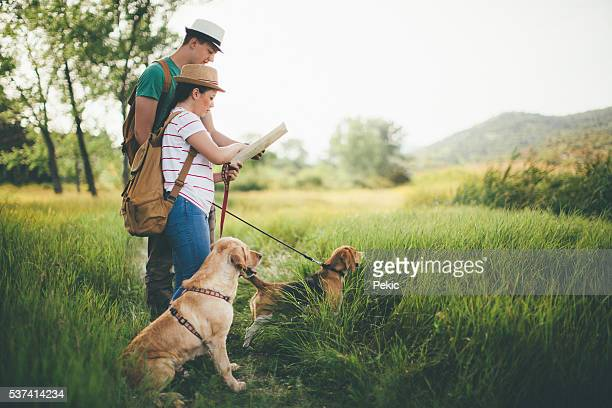 Couple hiking with map and their dogs