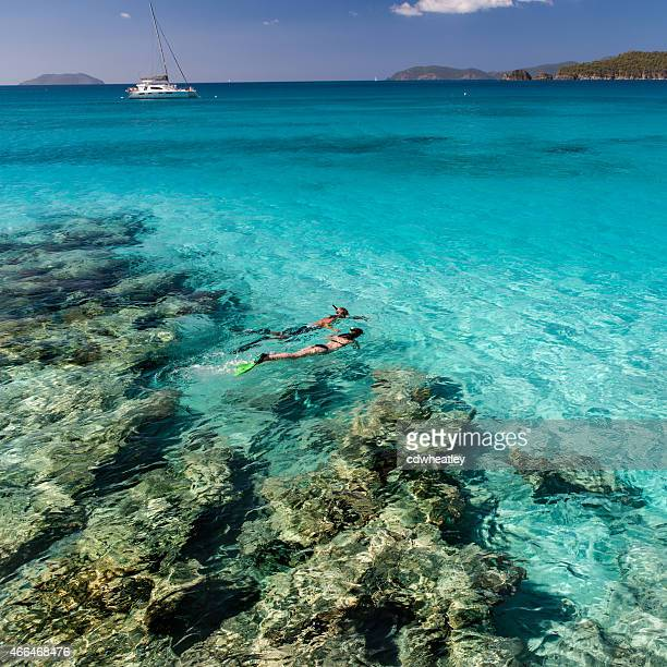 couple holding hands and snorkeling in the Caribbean waters