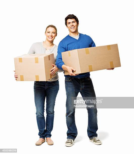 Couple Holding Moving Boxes - Isolated